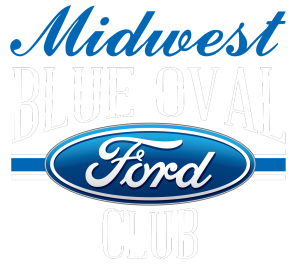 Midwest Blue Oval Club Logo White Outline